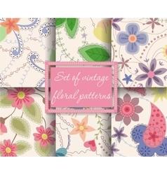 set of seamless patterns vintage floral vector image