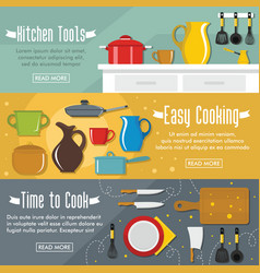 set of three horizontal kitchen banners with vector image vector image