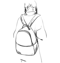 Sketch of schoolgirl with backpack from back vector