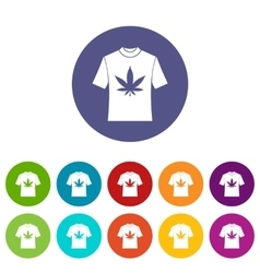 T-shirt with print of cannabis set icons vector image