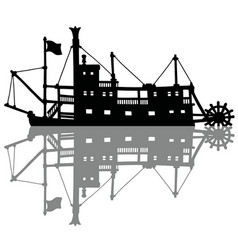 The black silhouette of a historical riverboat vector