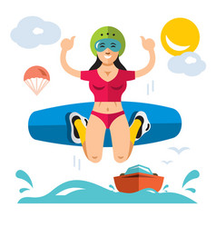 wakeboarding flat style colorful cartoon vector image vector image