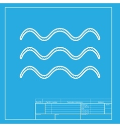 Waves sign white section of icon on vector