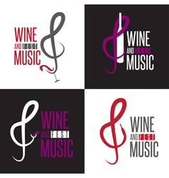Wine and music festival emblems set design vector