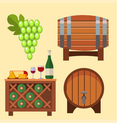 Winery making harvest cellar vineyard glass vector