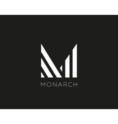 Abstract letter m logo design linear creative vector