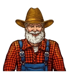 Happy smiling bearded farmer in hat vector