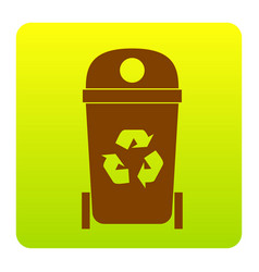 trashcan sign   brown icon at vector image