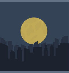 silhouette of urban scenery at night vector image