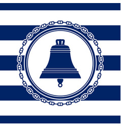 Round sea emblem with a bell vector