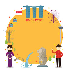 singapore landmarks people in traditional vector image