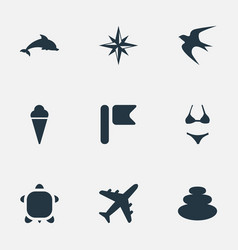 Set of simple seaside icons elements balance vector