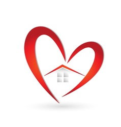 House and heart logo vector