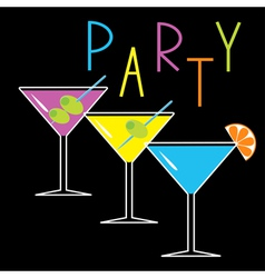 Set of three glasses with cocktails party card vector image