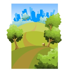 Cartoon road through the fields to the city vector