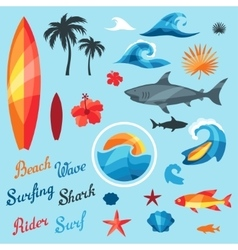 Set of surfing design elements and objects vector image