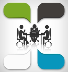 Infographic element business meeting on grayscale vector