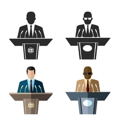 Speaker or orator icon in black and flat style vector
