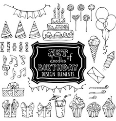 Set of outline birthday design elements vector