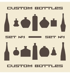 Different bottle types silhouette icon set vector