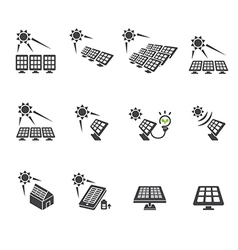 Solar cell icon set vector