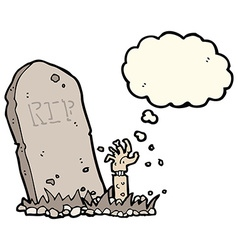 Cartoon zombie rising from grave with thought vector