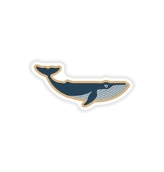Paper sticker on white background blue whale vector