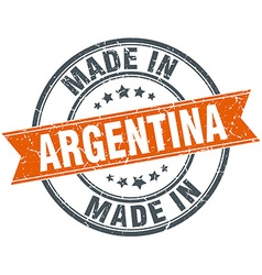 Argentina orange grunge ribbon stamp on white vector