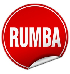 Rumba round red sticker isolated on white vector