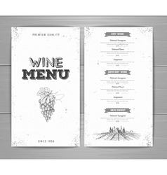 Vintage wine menu design vector image