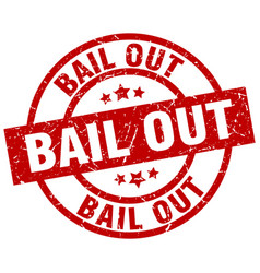 Bail out round red grunge stamp vector