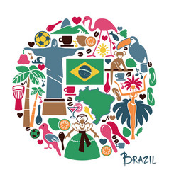 brazilian icons in the form of a circle vector image