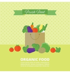 Card with fresh fruits and vegetables vector