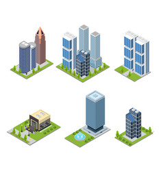 city skyscraper and cafe building set isometric vector image