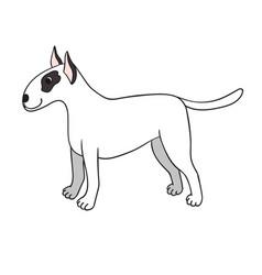 cute cartoon bullterrier isolated on white vector image