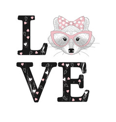 fashion print with raccoon face love word vector image vector image