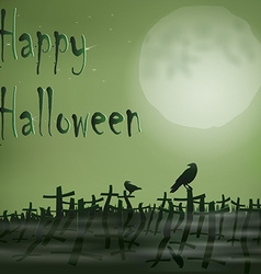 Halloween night cemetery moon ravens vector image vector image