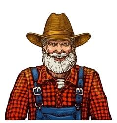 Happy smiling bearded farmer in hat vector image