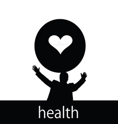 health with man and heart silhouette vector image vector image