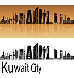 Kuwait city v2 skyline orange vector