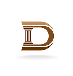 Letter D with column integrated sign Lawyer vector image vector image