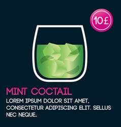 mint cocktail card template with price and flat vector image vector image