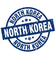North korea blue round grunge stamp vector
