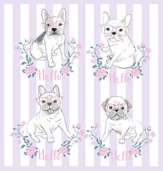 Pug dog face - isolated on white background vector
