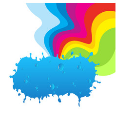 Rainbow and cloud with water drops vector