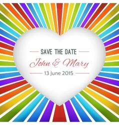 Rainbow heart background with save the date vector