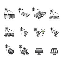 Solar cell icon set vector