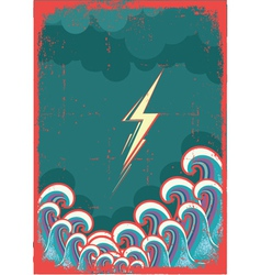 Storm in ocean with waves and lightning grunge vector