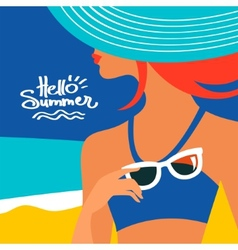 Summer background with beautiful woman silhouette vector image vector image