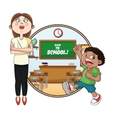 Teacher boy classroom back to school design vector